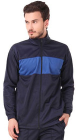 Fashion 7 Polyester Sports Jacket for Men - Track Jacket  Colorblocked Jacket (Navy Blue)