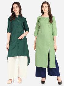 Florence Dark Green and Green Slub Cotton Embellished Pack of 2 Kurtas