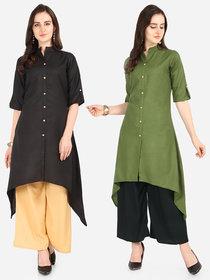 Florence Black and Green Slub Cotton Embellished Pack of 2 Kurtas