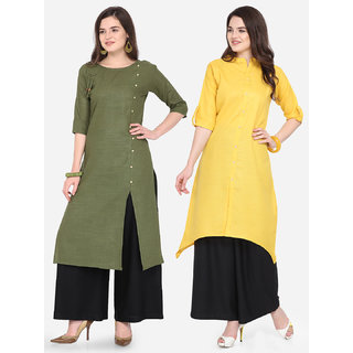 Florence Green and Yellow Slub Cotton Embellished Pack of 2 Kurtas