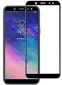 Full Glue, Full Coverage Edge-to-Edge 5D Tempered Glass Screen Protector for Samsung Galaxy A6+ Plus (Black)