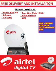 Airtel Digital TV HD Connection with one month FTA PACK