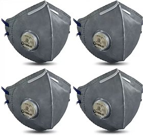 N95 4 Valve Reusable Washable Grey Free Size Pack Of 4