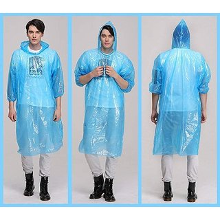 Raincard Disposable Emergency Rain Poncho with Hood Clear Raincoat for Men Women One Size Fits All