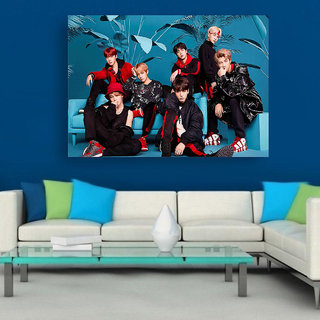 Voorkoms BTS Band Boys Members Print Rolled Wall Sticker Paper,18 X 12 inch, Multi-colour