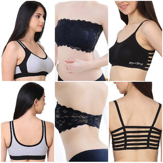 Rayyans (COMBO PACK) Premium Sports Gym Bra ,6 Straps Bralette and Imported Tube Lace Sexy Bra (Color n Design may vary)