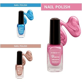Insight Nail Polish- Metallic Chrome Colors (Pack Of 3) Chrome Pink (113) , Bronze (116) , Blue(119) (Pack Of 3)