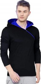 Redbrick Men's Plain Oblique Zipper Cotton Hooded T-shirt
