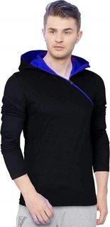 Redbrick Men's Plain Oblique Zipper Cotton Hooded T-shirt