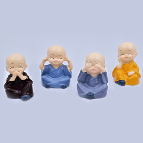 Vyxoo Inc Colorful 4 Monks Buddha Figurines (Pack of 1)