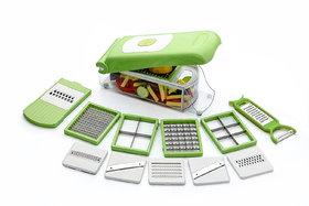 Silver Shine Multipurpose Vegetable and Fruit Chopper Cutter Grater Slicer 12 Blades 1 box (Assorted Color)