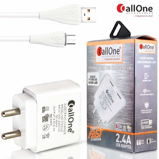 CallOne Dual USB Fast Travel Charger 5V-2.4 Amp with Micro Usb Charging cable