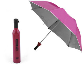 Silver Shine Products Double Layer Folding Portable Wine Bottle Umbrella for UV Protection & Rain (Assorted Color)
