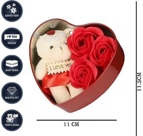 Valentine's Day Gift Heart Shape Box with 1 Teddy and 3 Red Roses For Your Lover