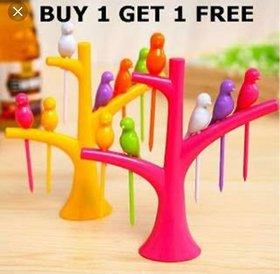 Multicolor Fancy Plastic FRUIT FORK  BUY 1 GET 1 FREE  Set Of 2 Fruit Forks