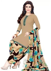 Synthetic Beige Printed Crepe Leon Unstitched Salwar Suits Dress Material With Dupatta By SVB Saree