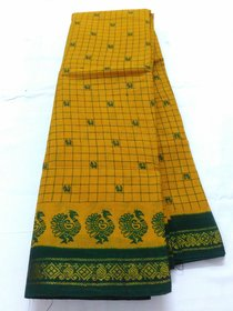 Yellow Green Summer Pure Cotton Saree Double Side Zari  Border Sungadi New Cotton Saree