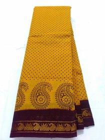 Yellow Brown Summer Pure Cotton Saree Zari  Border Sungadi New Cotton Saree
