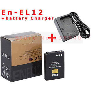 Nikon EN-EL12 Battery + MH-65 Charger For Nikon S710, S640 Free Power Cable