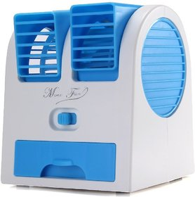 Mini Fan Air Cooler With Water Tray Portable Desktop Dual Bladeless Air Cooler USB