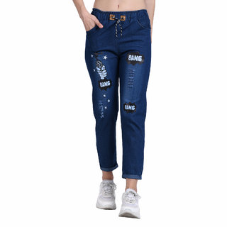 BuyNewTrend Roll Up Dark Blue Drawstring Printed Jeans For Women