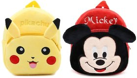 Proera Mickey And Pikachu Velvet Nursery Bag Combo Red Yellow - 14 Inchesu