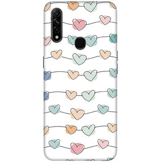 OnHigh Designer Printed Hard Back Cover Case For Oppo A31, Hearts in Line