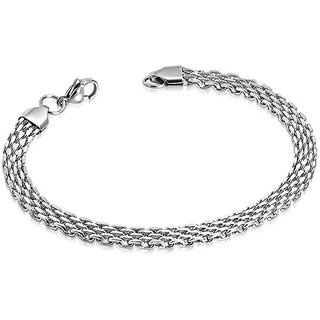 M Men Style Dual Tone Mesh Flat Chain Bracelet With Lobster Clasp Stainless steel Bracelets Men And Boys