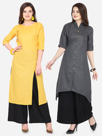 Pack of 2 V-KARAN Yellow and Black Plain Cotton Embellished Stitched Kurti