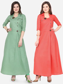 Today Deal Green and Pink Slub Cotton Patch Work Pack of 2 Kurtas
