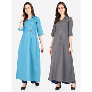 Today Deal Sky Blue and Grey Slub Cotton Patch Work Pack of 2 Kurtas