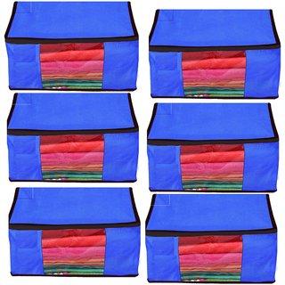 DIMONSIV Plain Pack of 6 Pisces Plain Large Non Woven  Saree Salwar Suit Kamiz Cover Storage Bag Storage Bag  (Blue)