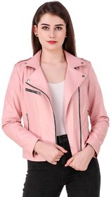 Leather Retail Faux Leather Jacket for Roadies For Women's and Girls ( Pink Colour )