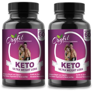 Orgfit Keto (Garcinia Cambogia, Green Tea, Coffee) Extract Fat Burner Weight Loss 800 Mg 60 Cap- Pack of 2