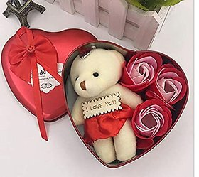 Valentine's Day Teddy and Rose Gift Box Best Unique Gift for Love Ones
