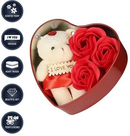Red Teddy Bear stuffed love soft toy for Valentine Love Gift/Girls Heart Shape Love Card and Red Rose Soap Flower Scente