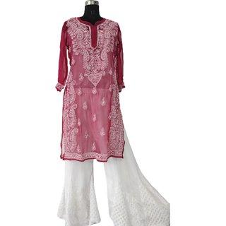 Lucknowi Chikan Chiffon Kurti With Sharara Set Lenth-44 Sleeve-3/4