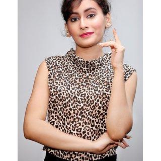 Women brown leopard print casual top