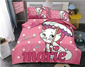 Prisha Cartoon Marie Print for Kids Cotton Double Bedsheet 90x100 inch with 2 Pillow Covers