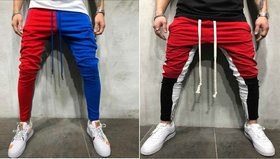 Ruggstar Branded Cotton Trackpant ( New+white black red new ) Pack of 2