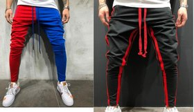 Ruggstar Branded Cotton Trackpant For Mens ( NEW+black Red 8 patti ) Pack of 2 pcs
