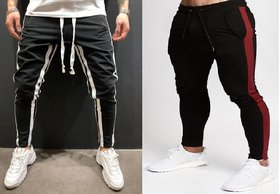 Ruggstar Cotton Trackpant For Mens ( Black white 8 patti+Black Red ) Pack of 2 pcs