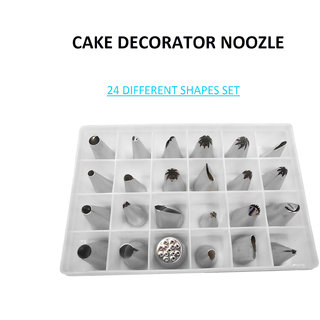 KIING CAKE DECORATOR NOZZLE SET OF (24 DIFFRENT SHAPES) STAINLESS STEEL DECORATOR Cup Cake Maker