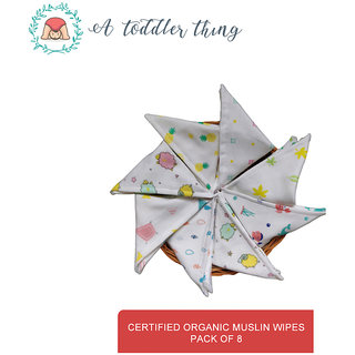 A Toddler Thing washable organic cotton baby skin care multidesign muslin wipes
