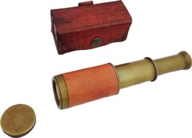 20 New Antique Brass 6 Telescope with lid in Leather Case - Pirate Navigation Collectible