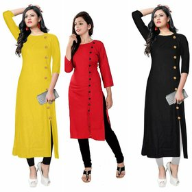 Aiza Collection Multicolor Crepe Plain Stitched Kurti For Women - Pack of 3