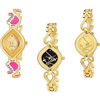 Miss Perfect Gold Strap Color Analog Watch