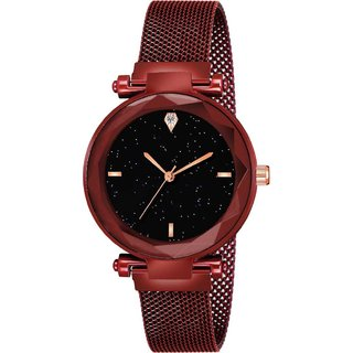 Miss Perfect Red Strap Color Analog Watch