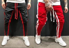 Ruggstar branded cotton trackpant(Black Red 8 Patti +Red 8 patti) pack of 2