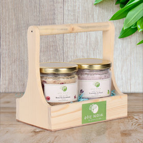 BATH SALT COMBO PACK OF 2 WITH REUSABLE WOODEN TRAY HELPS IN REDUCING MUSCLE ACHES